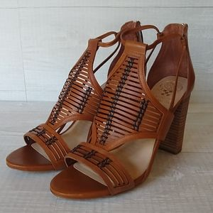 "Vince Camuto Leather Woven 4.5"" Heel Sandal"
